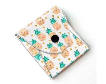 Vinyl Pouch - Tropical Summer2 / wallet, vegan, change, snap, small, little, pocket wallet, gift, pineapple, pink, summer, beach, sewing