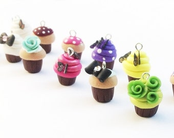 Polymer Clay Charms, Baker's Dozen Set of cupcake charms, polymer clay Cupcake Charms, for cell phone charms, zipper pulls, jewelry making