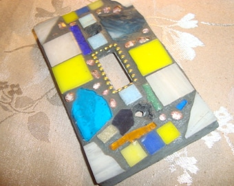 MOSAIC Light Switch Plate -  Single Switch, Wall Plate, Home Decor,turquoise, Yellow, Off white, Stained Glass