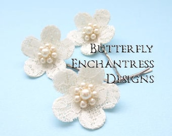 Burlap Wedding Hair Flowers for Rustic Chic Bridal Look - 3 Ivory Burlap Lace Cherry Blossom Woodland Flower Bobby Pins