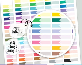 64 LABLE Appointment - Single   FLAGS   - PRINTABLE silhouette cut file , printable sticker planner,  printable planner stickers,