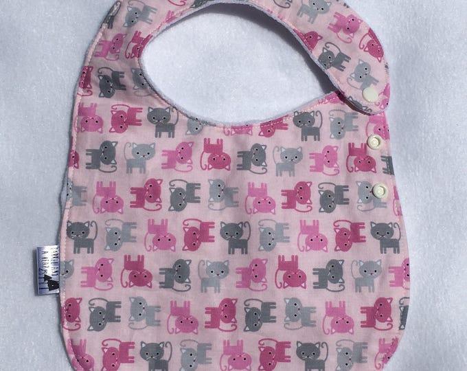 Pink Cat Adjustable Side Snap Bib with Minky Back