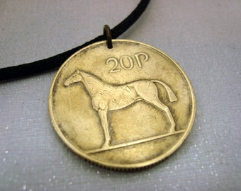 Ireland Coin necklace. HORSE necklace. 1992 1995 1996 Coin Jewelry. Irish necklace. Irish harp. equestrian. horse riding. dressage