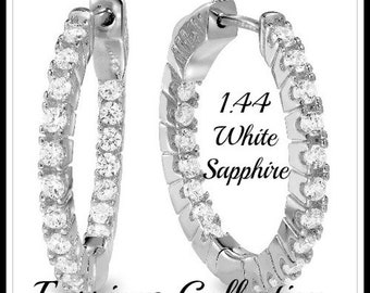 1.44ctw White Sapphire Earrings