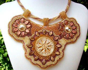 Golden Sun Bib Necklace Bead Embroidered Ray of Hope