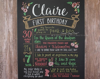 "16""x20"" canvas, first birthday chalkboard style custom ink drawing, the original Favorite Things Poster™"