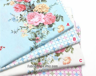 Pink Flower Diamond Cotton Fabric, Pink Yellow Rose Floral Square in Blue Cream Cotton Fabric- 1/2 yard
