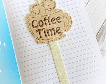 Coffee Cup Bookmark - Planner Accessories -Planner Bands- Coffee Planner Band - Planner Accessory - Coffee Bookmark - Elastic Band