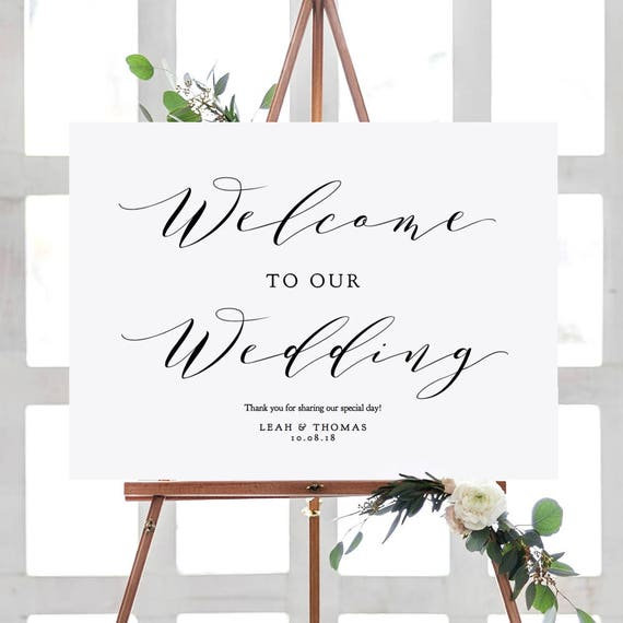 """Welcome Sign, Welcome to our Wedding Sign Printable, 6 sizes 16x20"""", 18x24"""", 24x36"""", A1, A2, A3, """"Wedding"""" Edit in ACROBAT"""