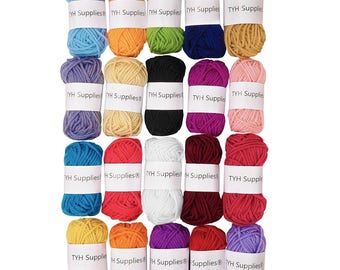 20 Skeins Bonbons Yarn Assorted Colors. Crochet & Knitting Multi Pack Variety Colored Assortment