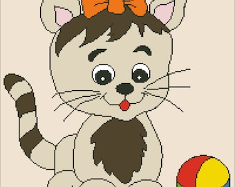 Eva's Designs: Cat and ball - PDF counted cross stitch pattern