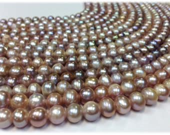 15 inch 9 to 10 mm Large Hole Freshwater Pearl Potato Beads - Blush / Mauve 2.5 mm hole Aprrox. 46 pearls (G2143NB58)