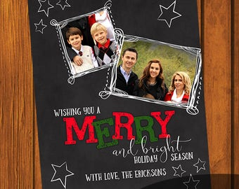 Merry & Bright Christmas Card / Photo Christmas Card / Custom Photo Christmas Card / Holiday Card / Photo Greeting Card  / 6x7.5 Inches
