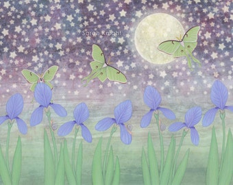 luna moths around the moon with starlit irises - illustration art print 8X10 inch, purple violet blue green flowers starry summer picture