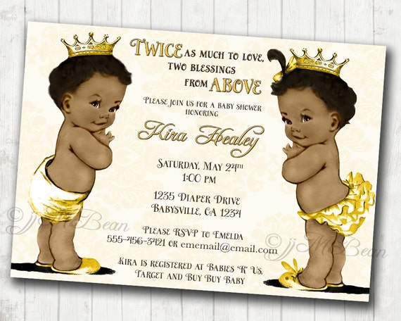 Boy And Girl Twins African American Baby Shower Invitation For