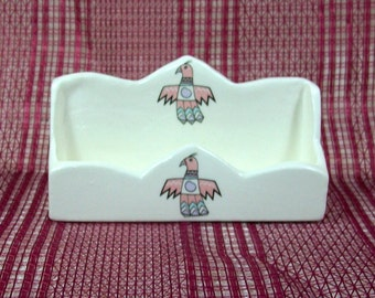 Business Card Holder with Thunder Bird | Handmade Ceramic Business Card Holder | Desktop Accessories | Desk Decor | Unique Office Supplies