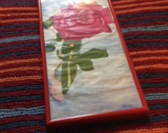 This is  red with pink rose.