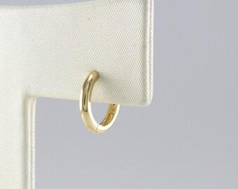 14K 9.5 mm Solid Gold Huggie Hinged Hoop Earring, Huggie Hoop, Gold Huggie, Small Gold Hoop, Cartilage, Conch, Helix, Tragus, EZ81S