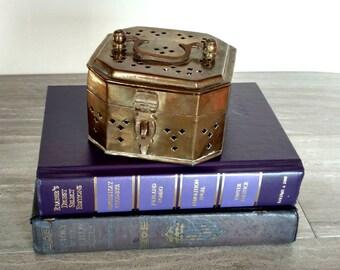 Brass Cricket Box / Brass Box / Vintage Brass / Brass / Brass Box with Handle / Made in India