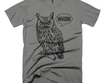 Grammar Shirt Funny Tshirts for Men Who Whom Owl Tee Mens Shirt Mens TShirt English Teacher Gift for Teachers Editor Cool Funny T Shirt Man