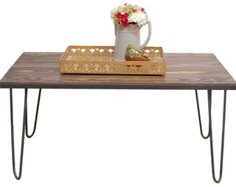 """Coffee Table with 16"""" Hairpin Legs in a Dark Walnut Stain"""