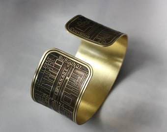 New Orleans French Quarter Etched Cuff Bracelet Jewelry of Historical Map