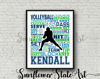 Personalized Volleyball Poster, Personalized Volleyball Typography, Male Volleyball Player, Volleyball Guy, Volleyball Team Gift