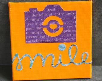 Sourire toile Mini Magnet - trois par trois pouces