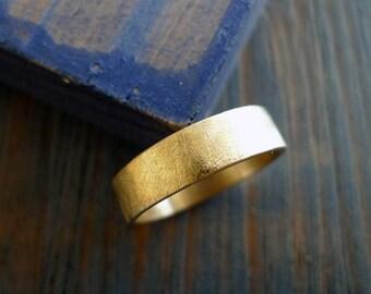 Rough and Gentle. Man 14K Gold Wedding Band. Simple Man Wedding Ring. Handmade Ring. Comfort Fit. Man Flat Wedding Ring. Man Jewelry.