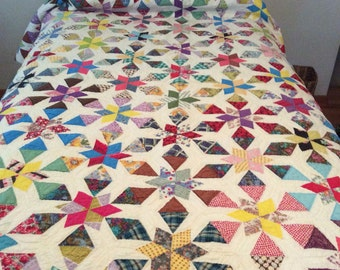Vintage Handstitched 100% Cotton Star Quilt