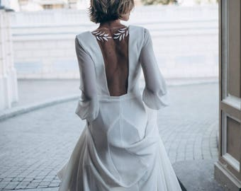 Ivory Crepe Open Back Wedding Dress and Handmade Embellishments, Long Sleeve Wedding Dress with Train L18, Beach Wedding Dress, Bridal