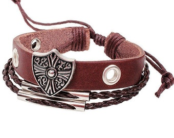 Leather bracelet with Shield Charm
