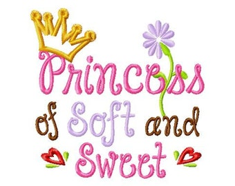 Princess of Soft and Sweet - Crown Applique - Machine Embroidery Design - 8 Sizes