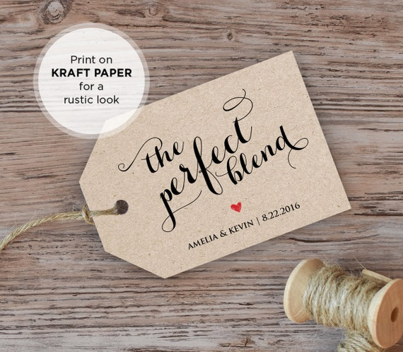 The Perfect Blend Tag, Wedding Favor Tag, Coffee Lover, DIY Printable Tag, Instant Download, Editable Text, PDF Template, Digital Download