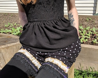Black Polka Dot Bloomers with Victorian Lace and Pockets!