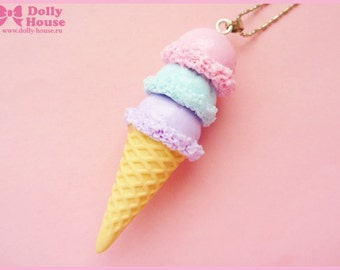 Kawaii Pastel Ice-Cream Necklace by Dolly House