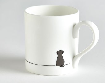 Dog Mug with Sitting Dog, Fine Bone China, Chocolate Lab Mug, Puppy Mug, Gift for Dog Lover, Stylish Dog Mug