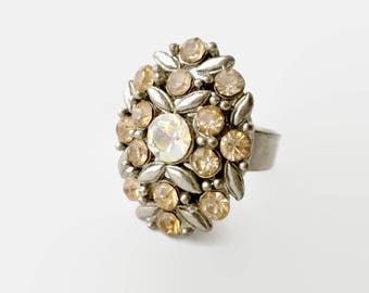 Topaz Rhinestone Cluster Ring, Adjustable With Floral Design - Ring Size 7, Oval Ring, Rhinestone Ring, Sparkly Ring, Vintage Ring Women