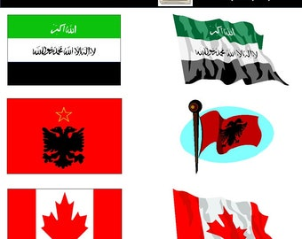 World Flag Clipart - Flag Clipart - Printable Flags - World Flag Clip Art (A-L) - 224 PNG Images - Instant Download