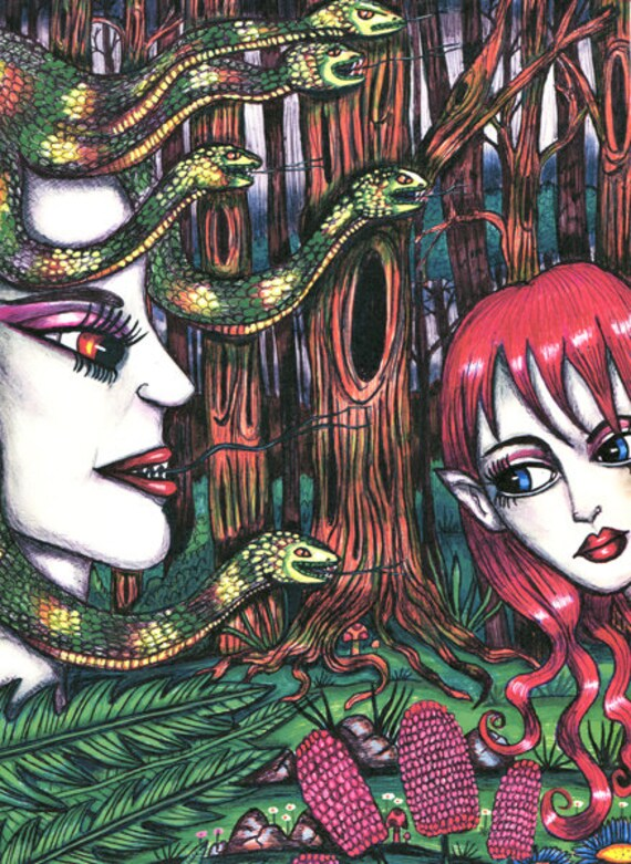 Medusa & the elf print original art fantasy creatures folk art prints fairy fae original drawing snake lady monsters modern original artwork