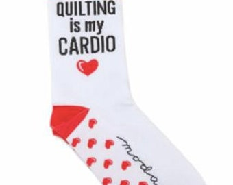 Quilting is my Cardio Sewing themed socks - Sock Thoughts by Moda
