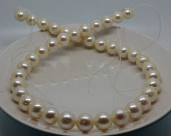 """10.25mm Cultured Freshwater Pearl Strand - Ivory (cream) - 16"""""""