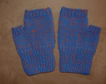 Hand knit Fingerless Gloves - Blue