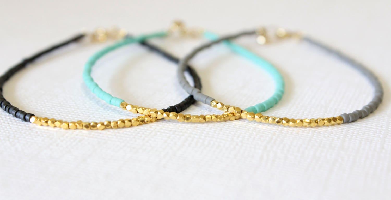 Gold filled bracelet Beaded Gold Bracelet Gold vermeil