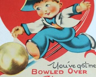 Vintage Valentine 1940's You've got me Bowled Over Valentine vintage valentine for a bowler