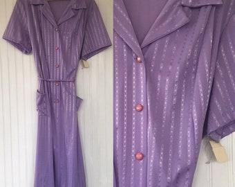 Vintage NWT 70s Pastel Purple Sheer Dress Size XL - Deadstock 1979 80s Spring Summer Festival