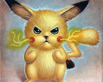 8x8 inch Furry Pikachu archival print
