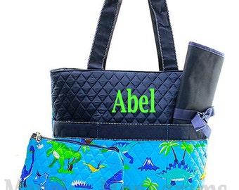 Personalized  Boys Quilted Diaper Bag Set - Aqua Blue with Navy Trim 3 piece Diaper bag Set FREE Monogram