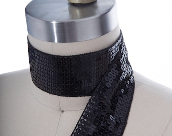 Black Sequined Trim Ribbon/ Non Stretch Sequin Trim Black/ Available in Three Colors/ Perfect for Dance Competition Costumes 2""