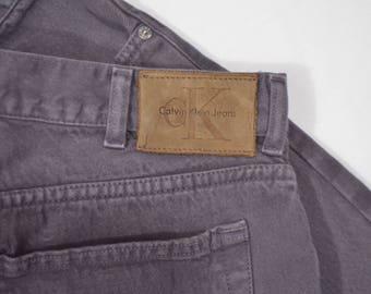 Vintage 1990s CK Calvin Klein 36 x 32 Gray Denim Jeans Leather Patch Hip Hop Hipster
